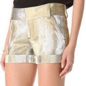 Alice + Olivia Cady Gold Cuffed Metallic Shorts